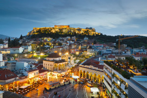 ATHENS, GREECE - JANUARY 30 2015: Monastiraki square and Plaka on February 4th 2015, Athens, Greece.